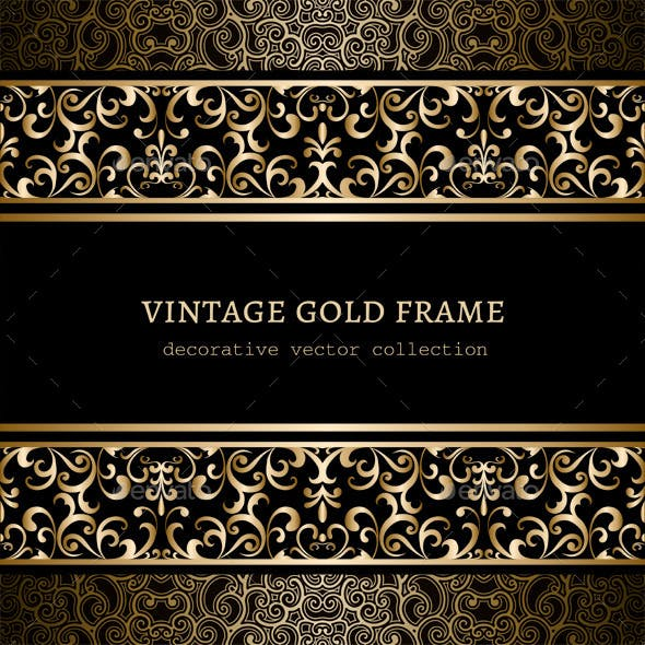 Vintage Frame with Gold Borders