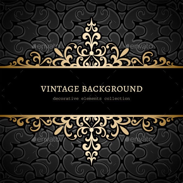 Vintage Gold Floral Background
