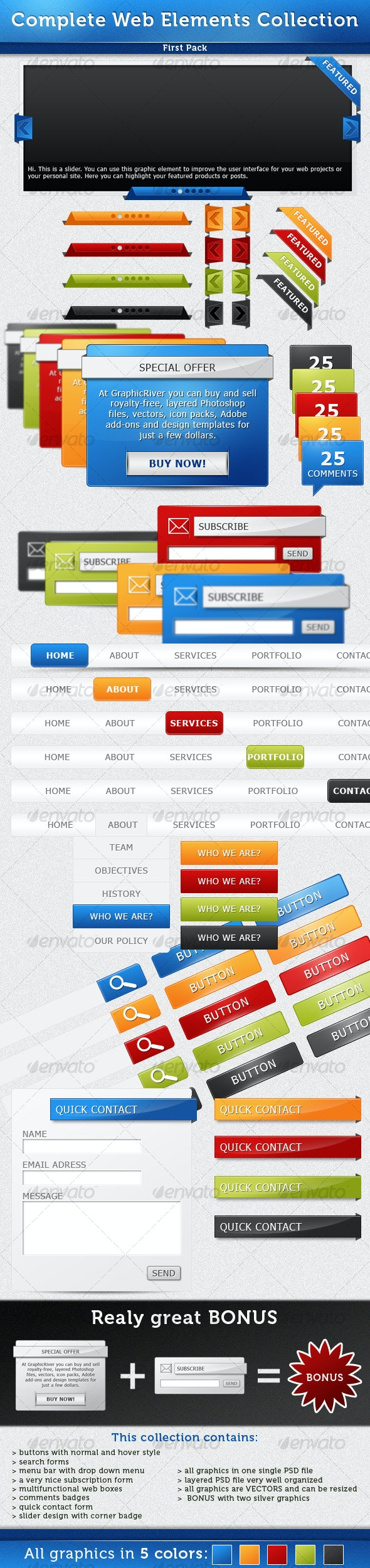 Complete Web Elements Collection - Pack1 - Miscellaneous Web Elements