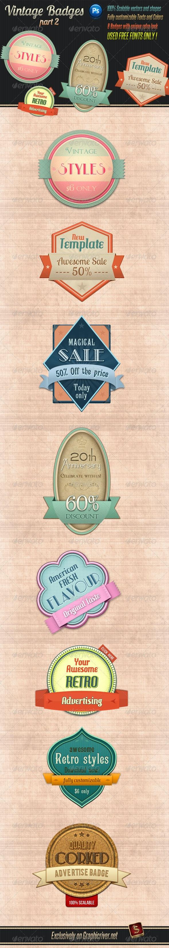 Retro Vintage Badges - Part 2 - Badges & Stickers Web Elements