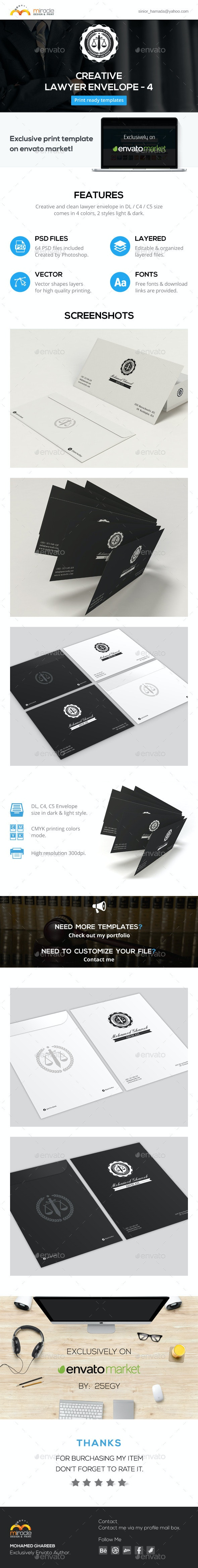Creative Lawyer Envelope #4 - Stationery Print Templates