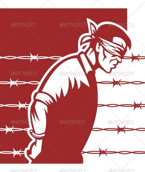 Prisoner Of War POW Bliinfolder And Tied - People Characters