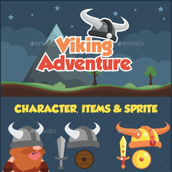 Viking Adventure Sidescroller Game UI