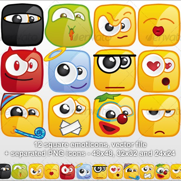 12 Square emoticons II