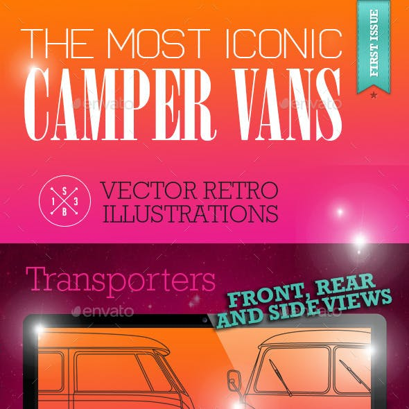 Iconic Retro Camper Van Vectors