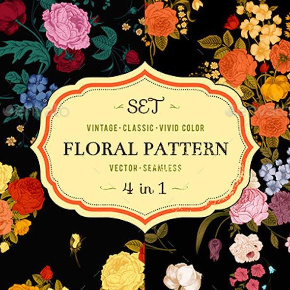 Set of Vintage Classic Floral Patterns