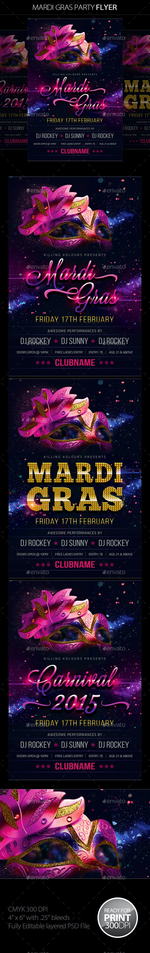 Mardi Gras / Carnival Flyer - Clubs & Parties Events