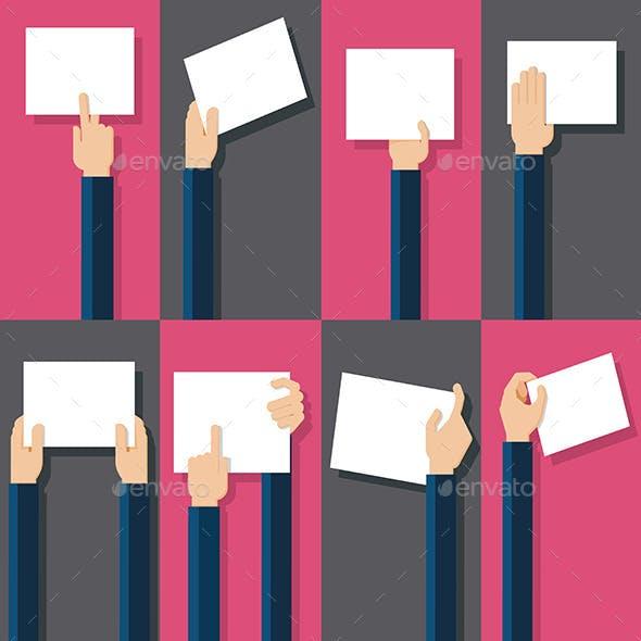 Flat Design Illustration of Hands Holding Paper