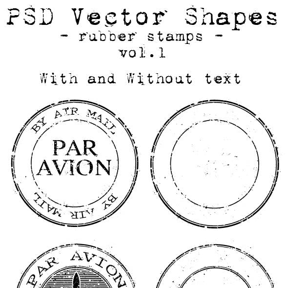 PSD Vector Shapes - rubber stamps - Vol 1.