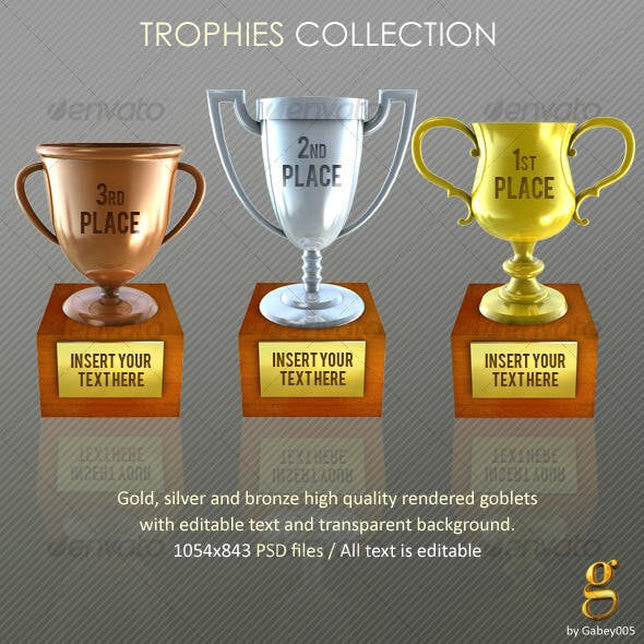 Trophies. Gold, silver and bronze