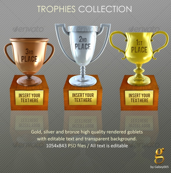 Trophies. Gold, silver and bronze - Objects Illustrations