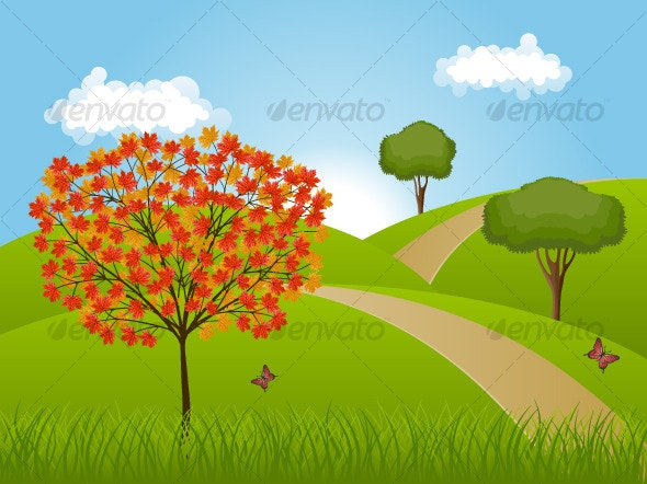 Nature background with a autumn landscape - Seasons Nature
