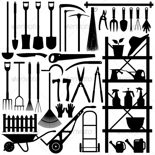 Gardening Tools Silhouette - Man-made Objects Objects