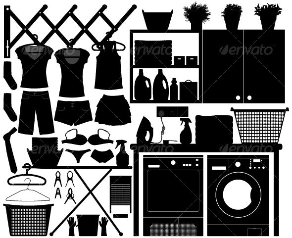 Laundry Design Set Vector - Man-made Objects Objects