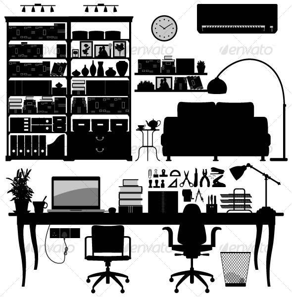Home Office Library SOHO Vector - Man-made Objects Objects