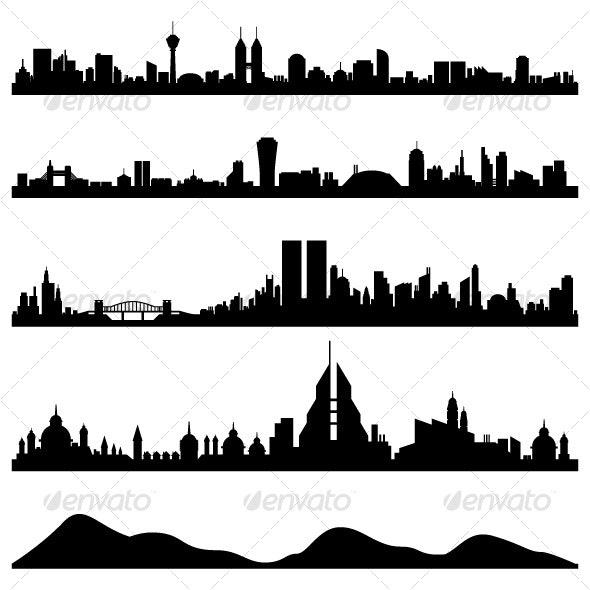 City Skyline Cityscape Vector - Buildings Objects