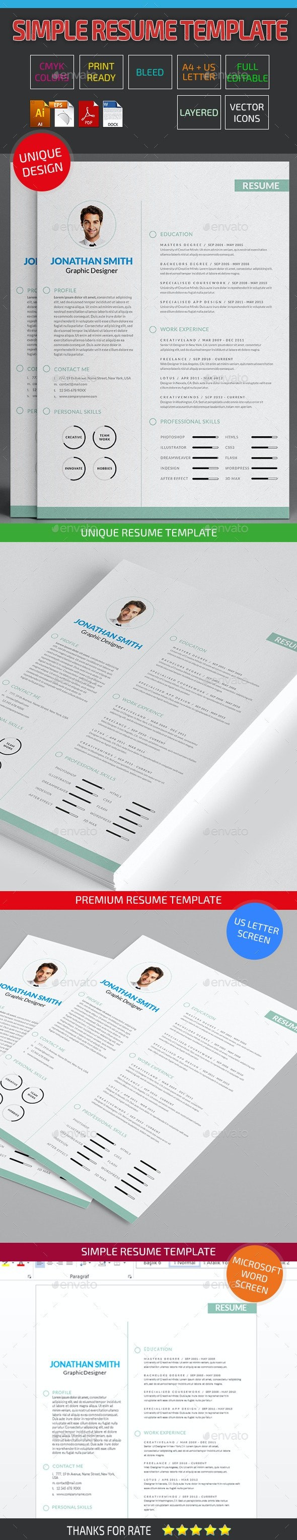 Simple Resume Template 07 - Resumes Stationery