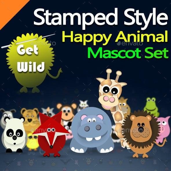 Stamped Style Happy Animal Mascot Set