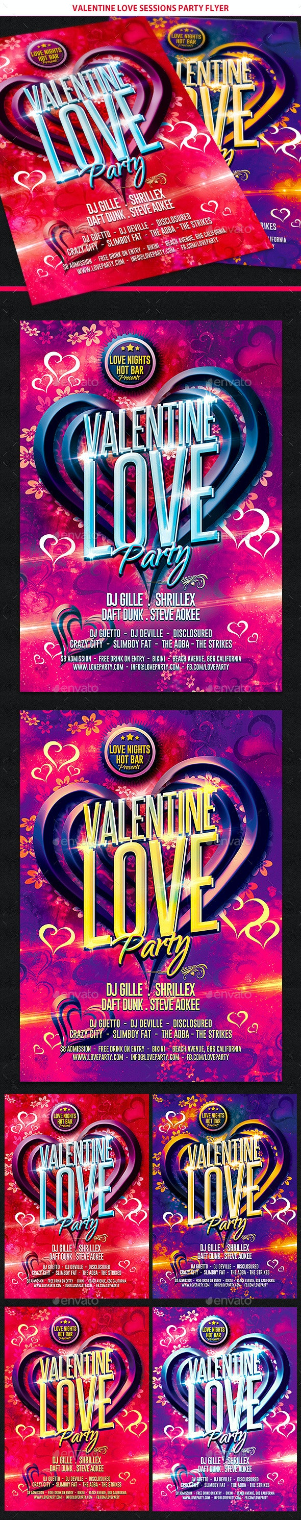 Valentine Love Sessions Party Flyer - Clubs & Parties Events