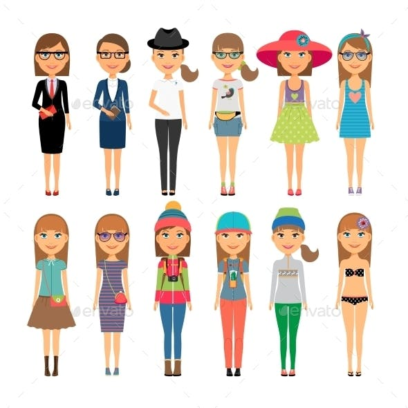 Cartoon Fashion Girls in Colorful Clothes