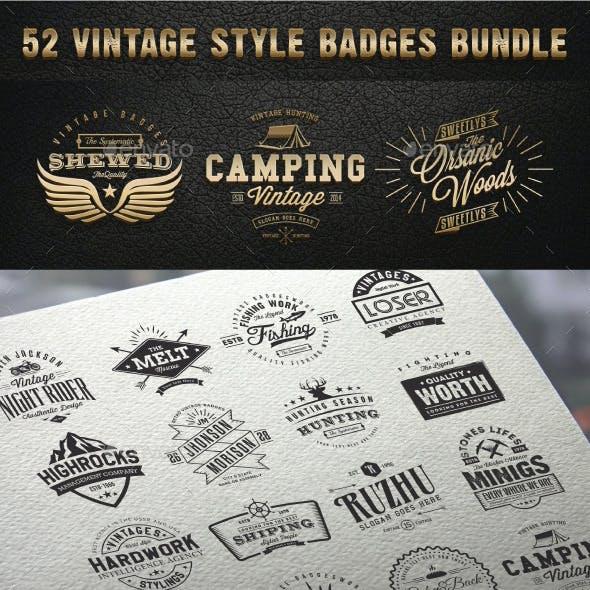 52 Vintage Style Badges Bundle