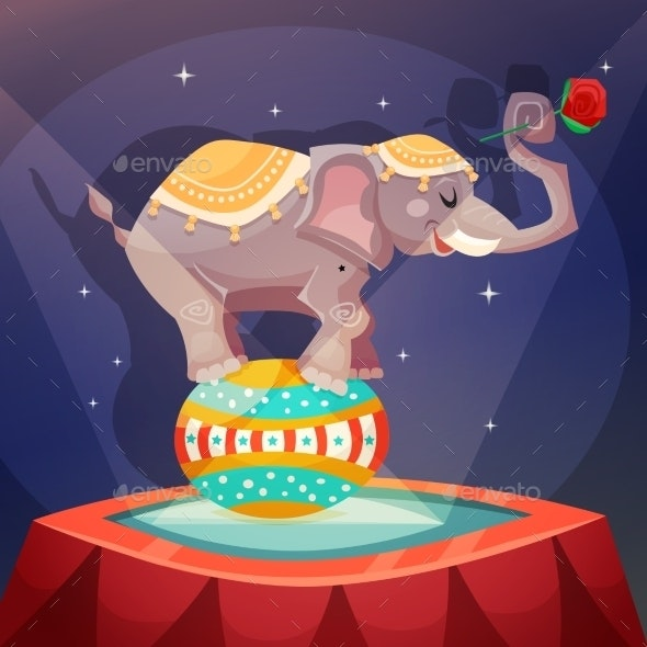 Circus Elephant Poster - Backgrounds Decorative