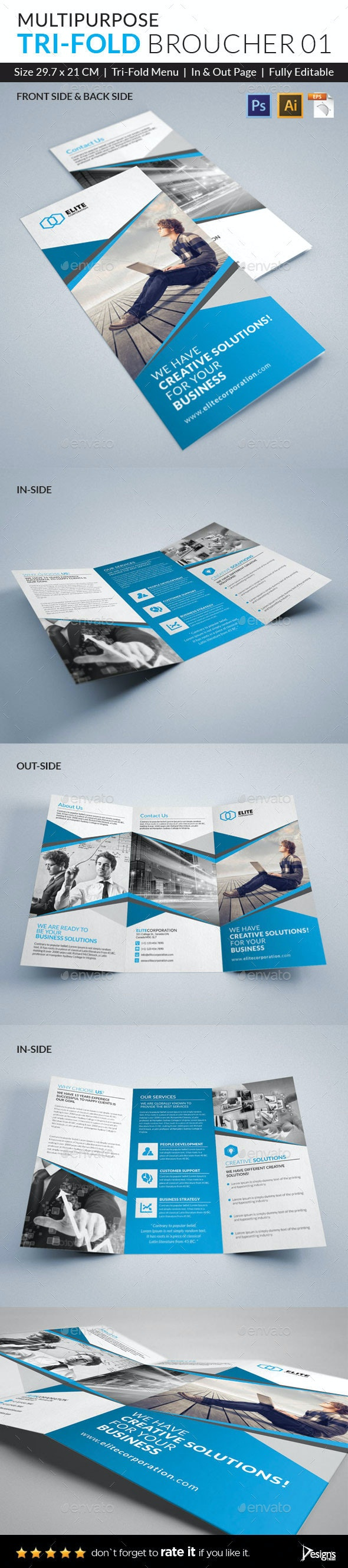 Trifold Brochure with PSD - Brochures Print Templates