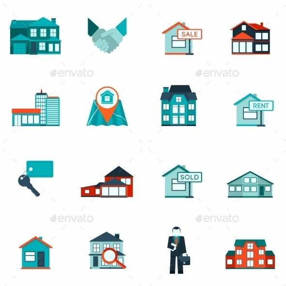 Real Estate Icon Flat - Buildings Objects