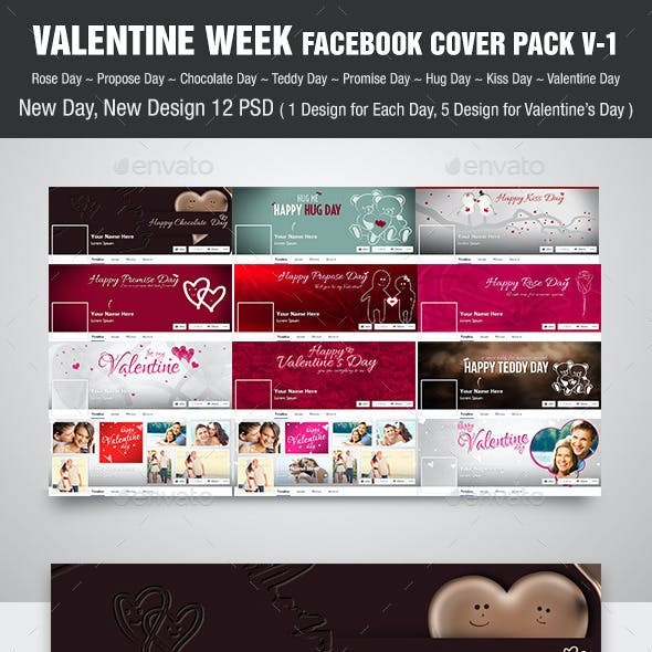 Valentine Week Facebook Cover Pack | V-1