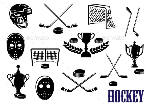 Ice Hockey Icons - Sports/Activity Conceptual