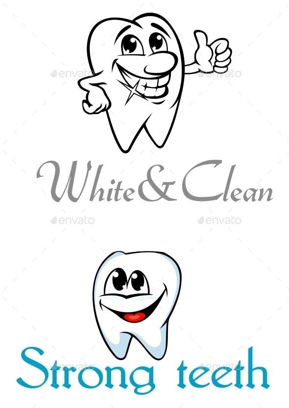 Happy Smiling Cartoon Teeth - Health/Medicine Conceptual