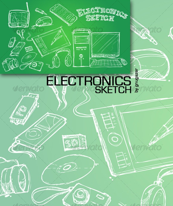 Sketch of an electronic objects - Technology Conceptual