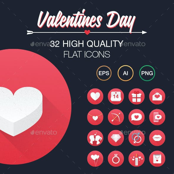 Valentine's Day Flat Icon set