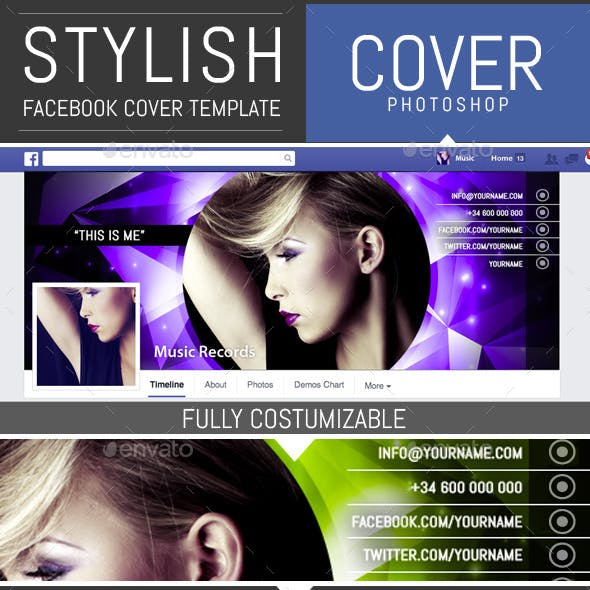 Shiny Dj and  Musician Facebook Cover Template