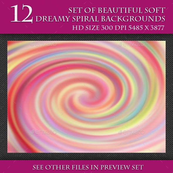 Set of Beautiful Soft Dreamy Spiral Background