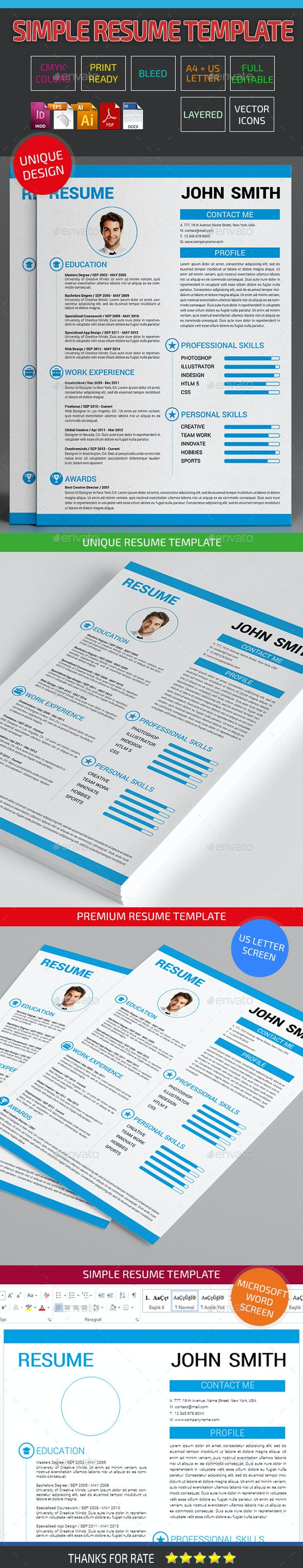 Clean Resume Template 08 - Resumes Stationery