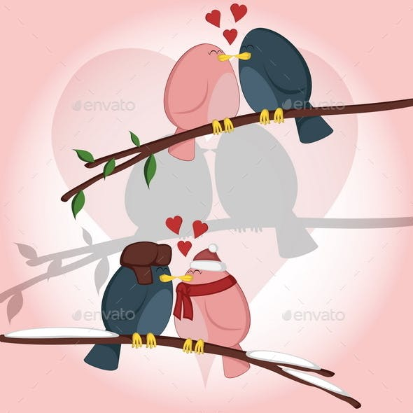 Kissing Birdies on a Branch