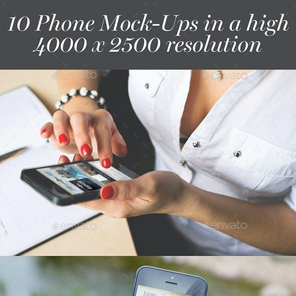 10 Hi-Res Phone Mockups