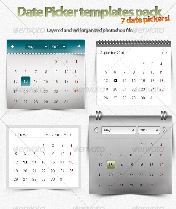 7 Unique Themes for Date Pickers! - Forms Web Elements