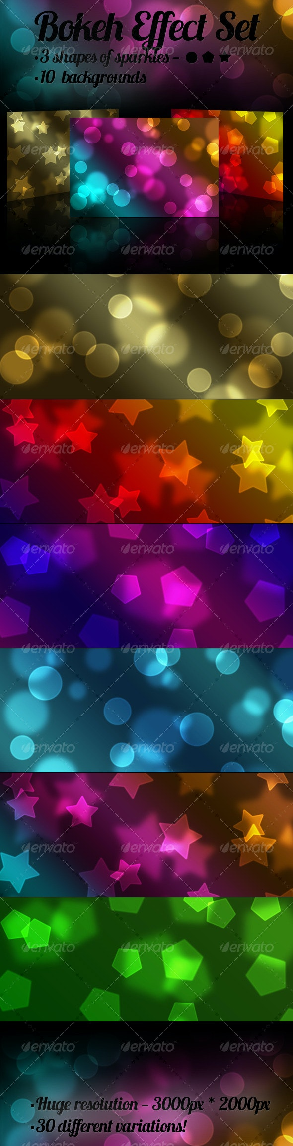 Bokeh Effect Set - Backgrounds Graphics