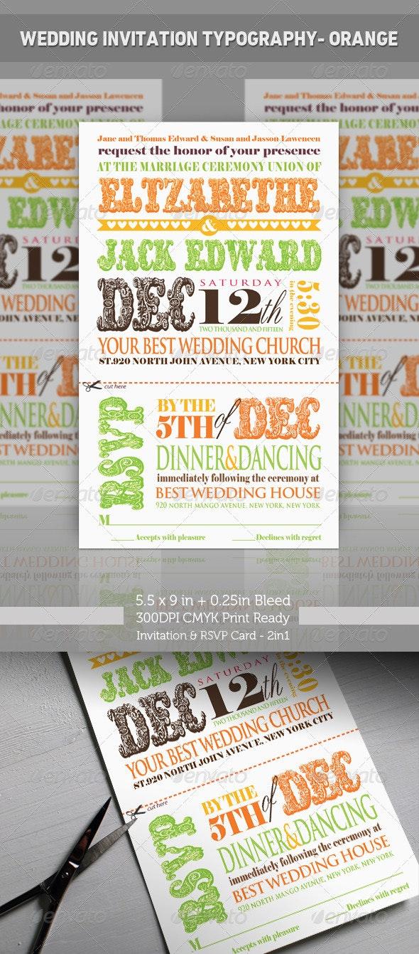 Wedding Invitation Typography - Orange - Weddings Cards & Invites