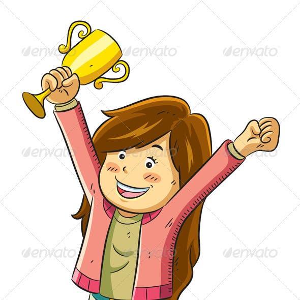 Girl Win a Trophy