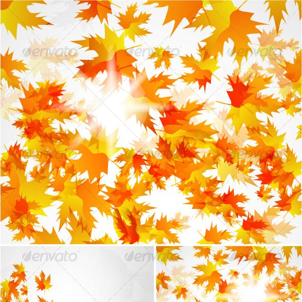 Flying autumn leaves. Vector background pack