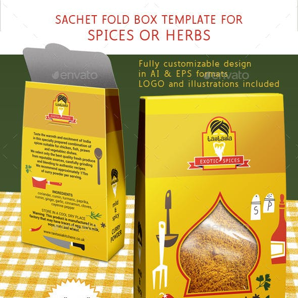 Spice or Herbs Box with Die Cut Shape