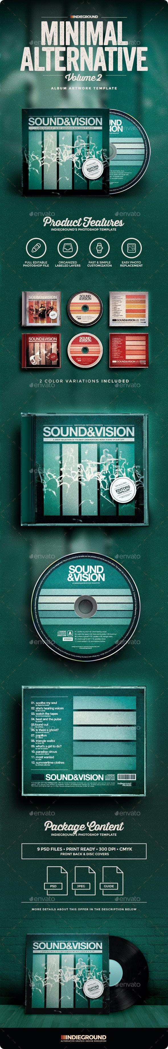Minimal Alternative CD Album Artwork Vol. 2 - CD & DVD Artwork Print Templates