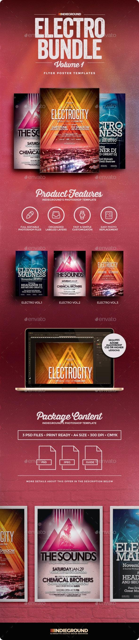 Electro Flyer/Poster Bundle Vol. 1-3 - Events Flyers