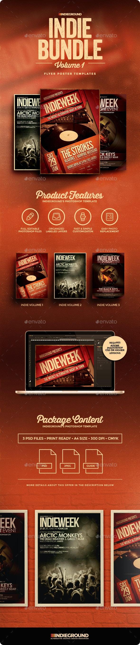Indie Flyer/Poster Bundle Vol. 1-3 - Clubs & Parties Events