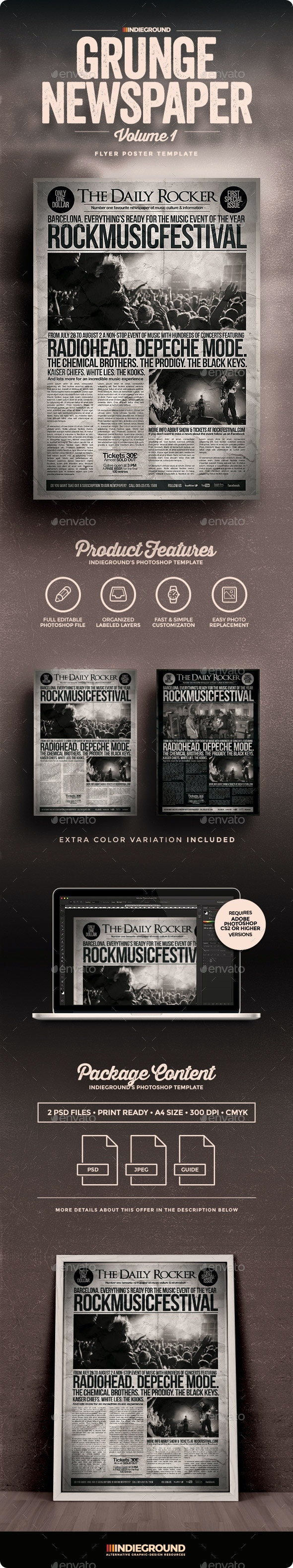 Grunge Newspaper Flyer/Poster - Concerts Events