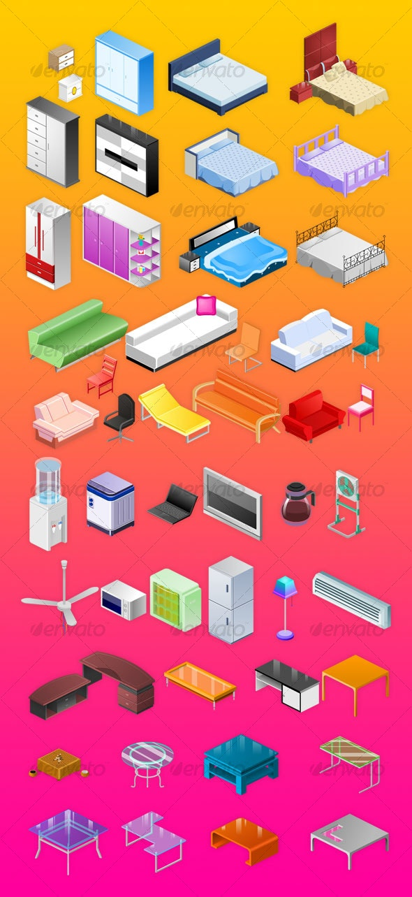 Furniture&electrical appliances icons - Web Icons