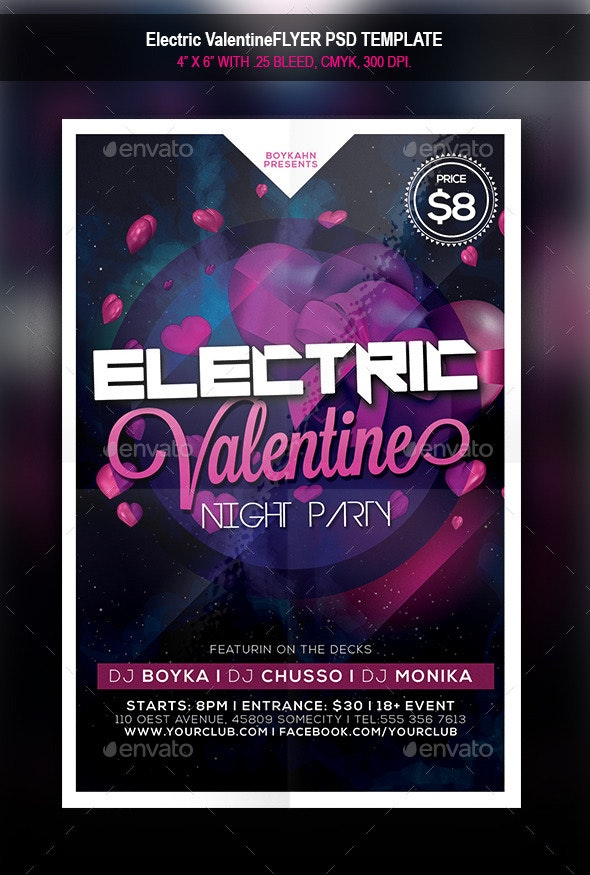Electric Valentine   Flyer - Clubs & Parties Events